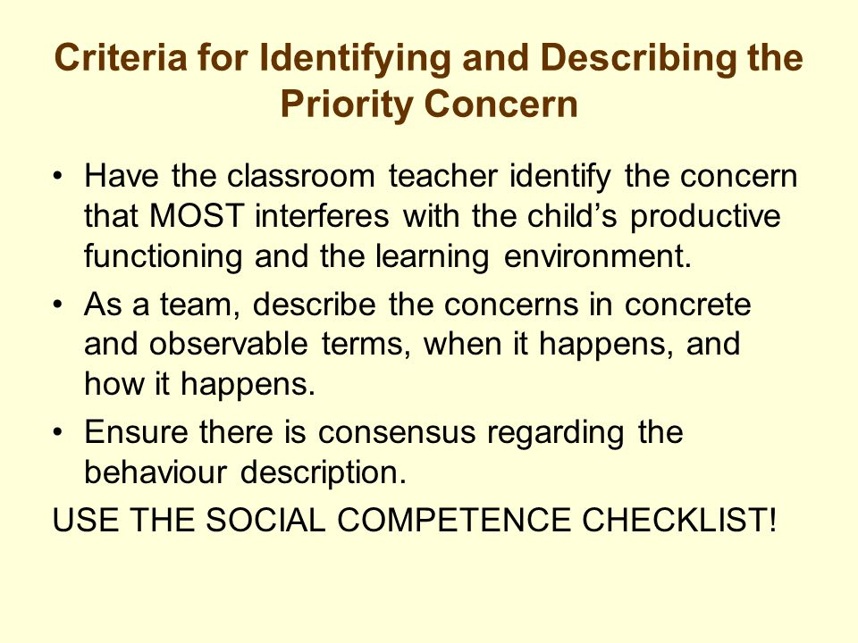 Criteria for Identifying and Describing the Priority Concern