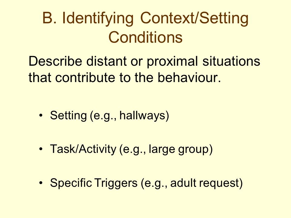 B. Identifying Context/Setting Conditions