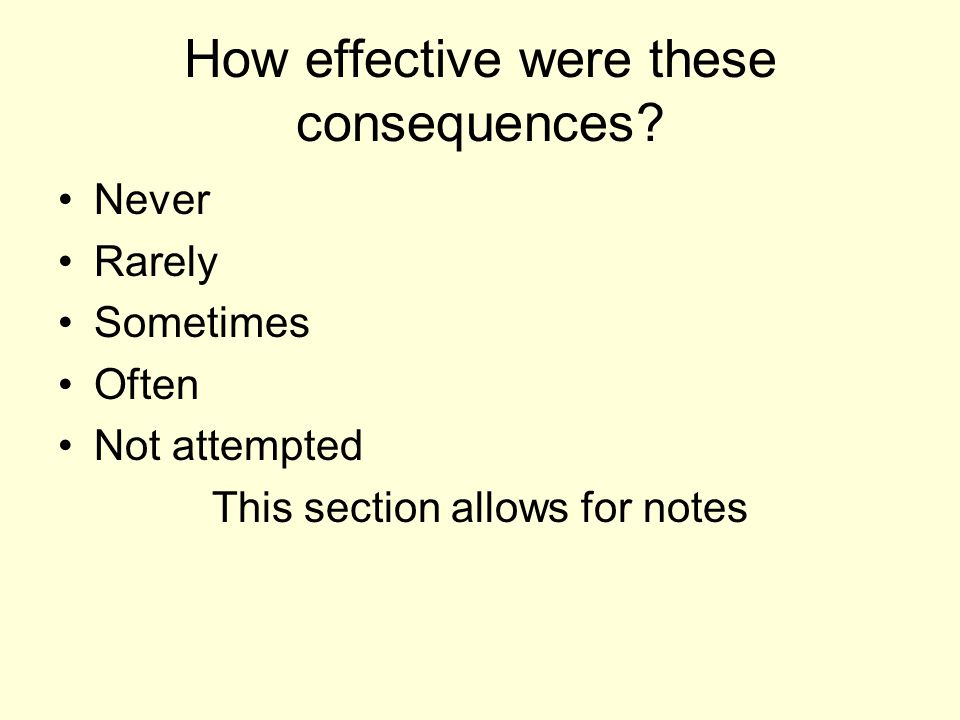 How effective were these consequences