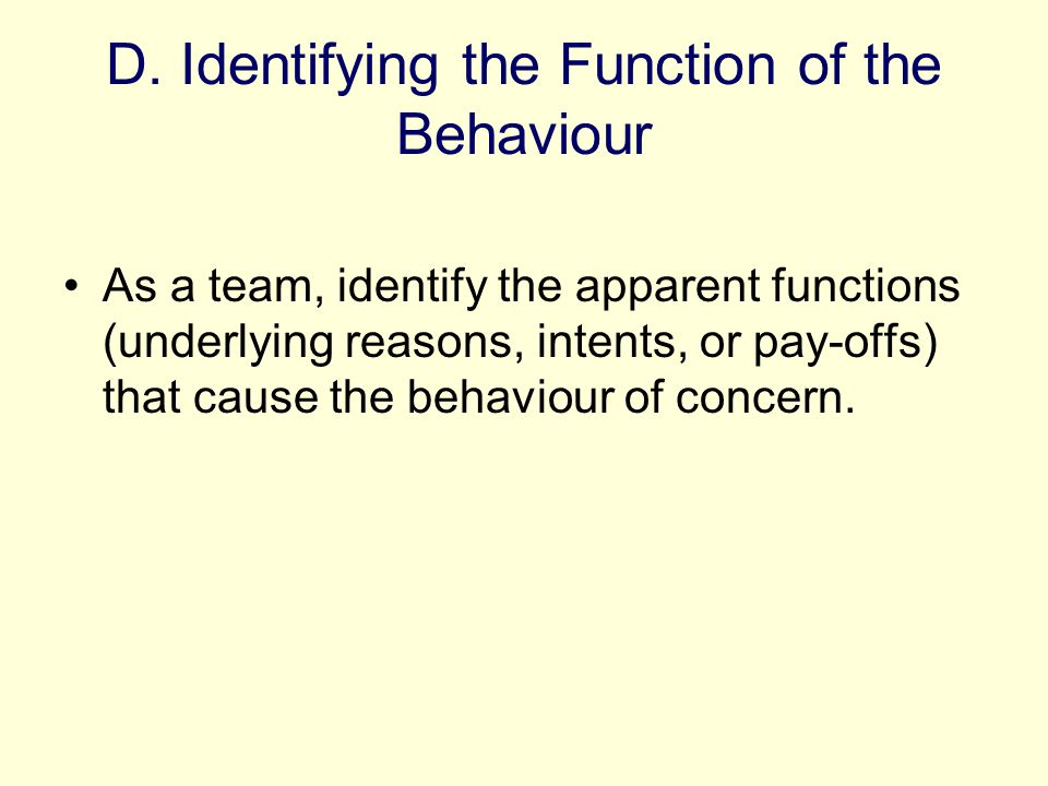 D. Identifying the Function of the Behaviour