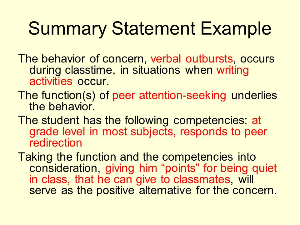 Summary Statement Example