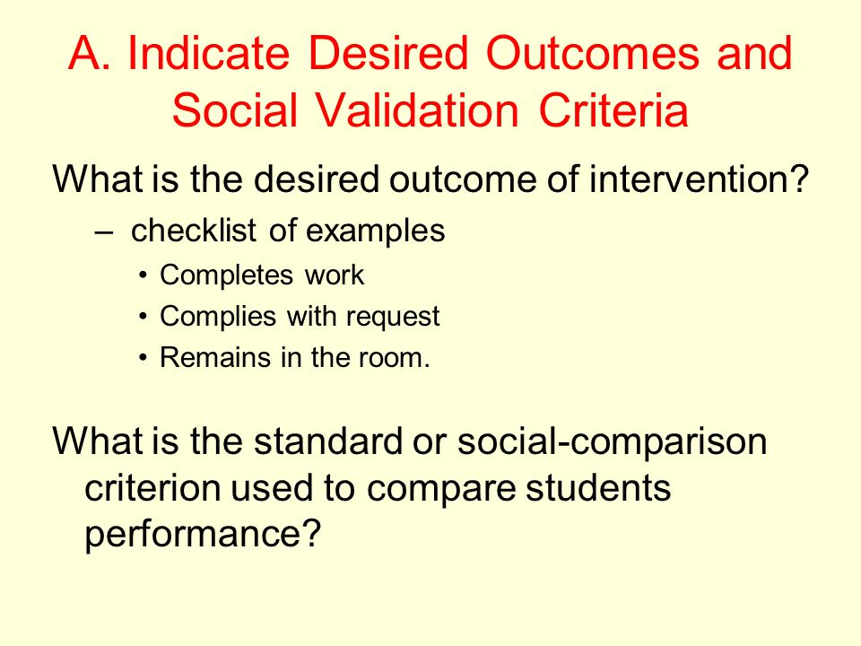 A. Indicate Desired Outcomes and Social Validation Criteria