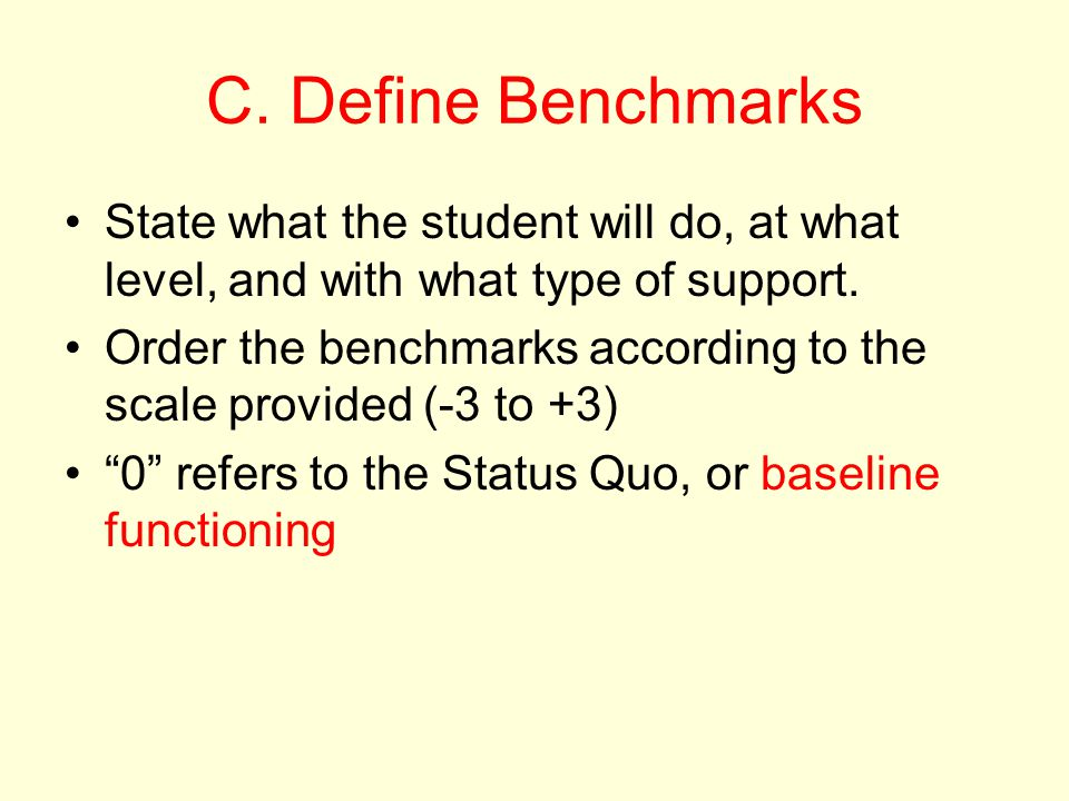 C. Define Benchmarks State what the student will do, at what level, and with what type of support.