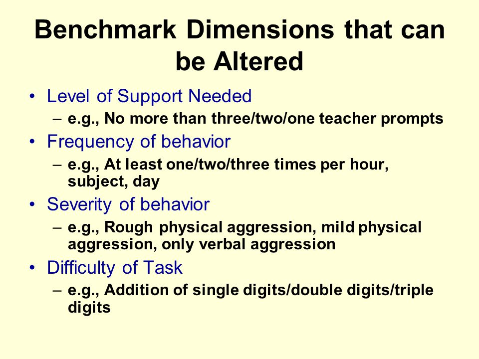 Benchmark Dimensions that can be Altered