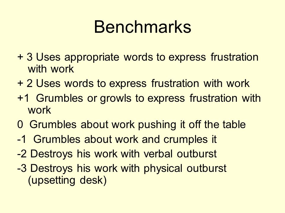 Benchmarks + 3 Uses appropriate words to express frustration with work