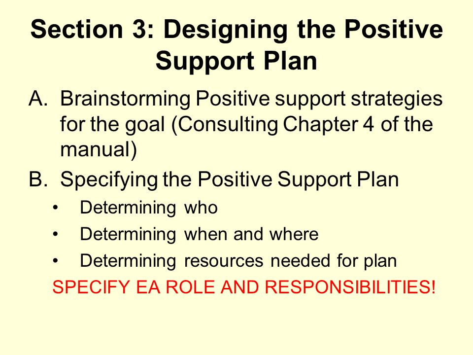 Section 3: Designing the Positive Support Plan