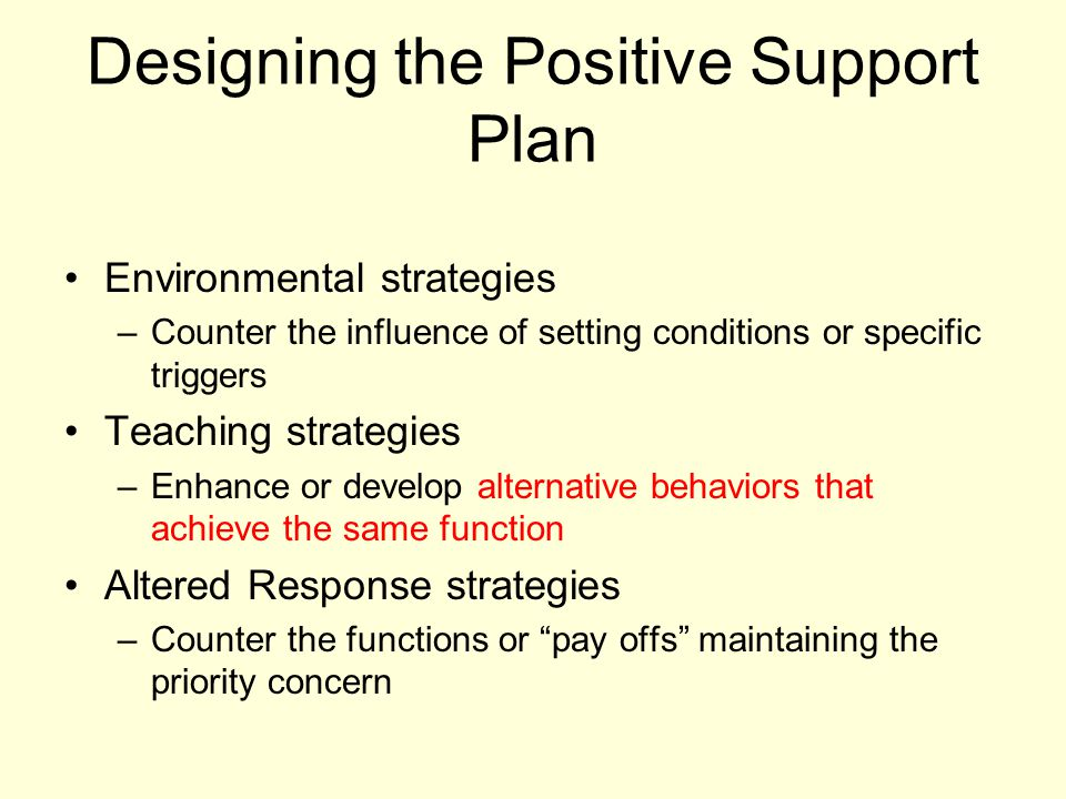 Designing the Positive Support Plan