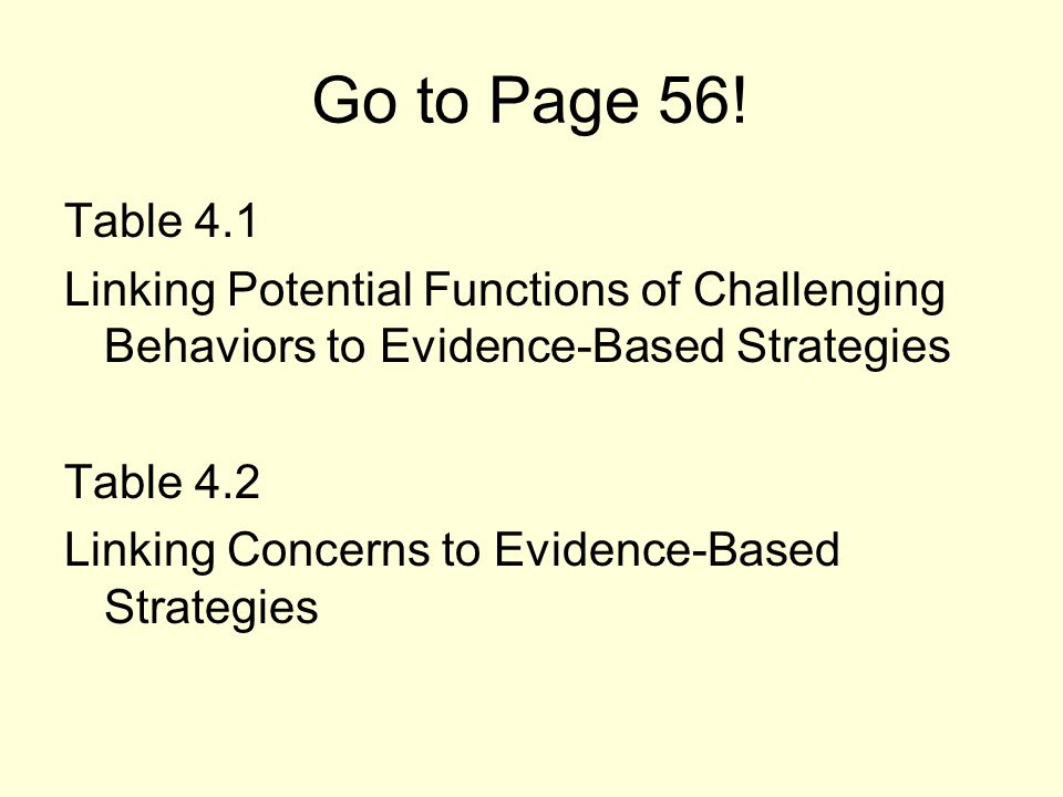 Go to Page 56! Table 4.1. Linking Potential Functions of Challenging Behaviors to Evidence-Based Strategies.