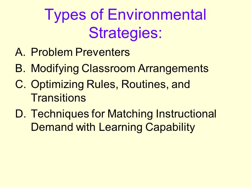 Types of Environmental Strategies:
