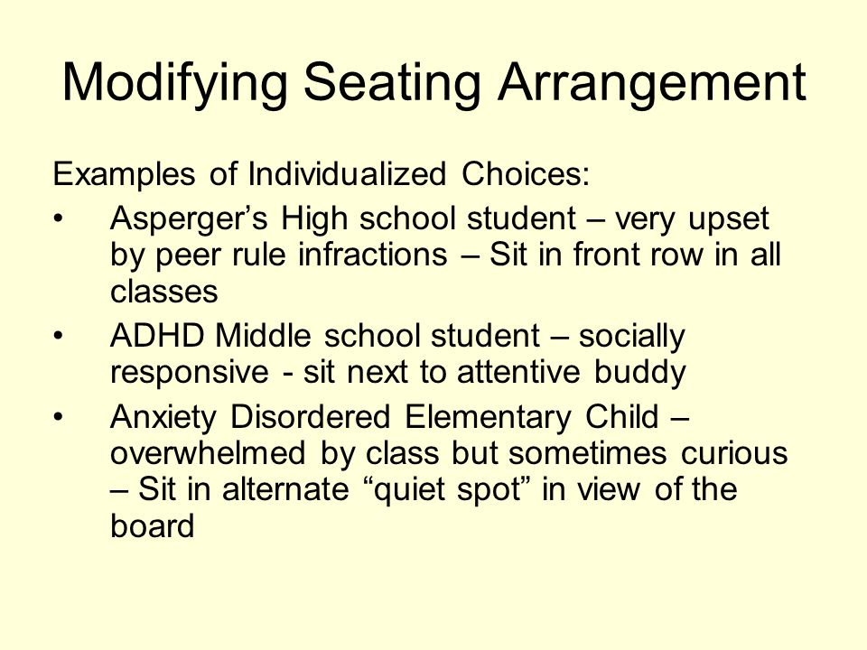 Modifying Seating Arrangement