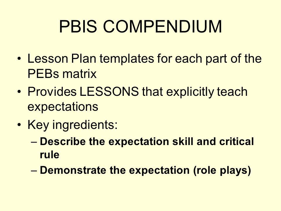 PBIS COMPENDIUM Lesson Plan templates for each part of the PEBs matrix