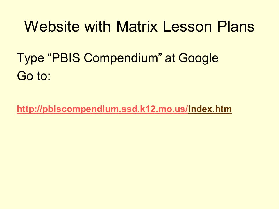 Website with Matrix Lesson Plans