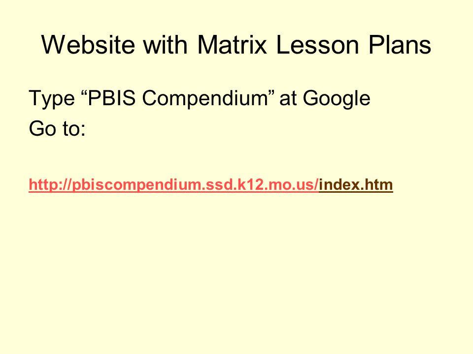 Website with Matrix Lesson Plans