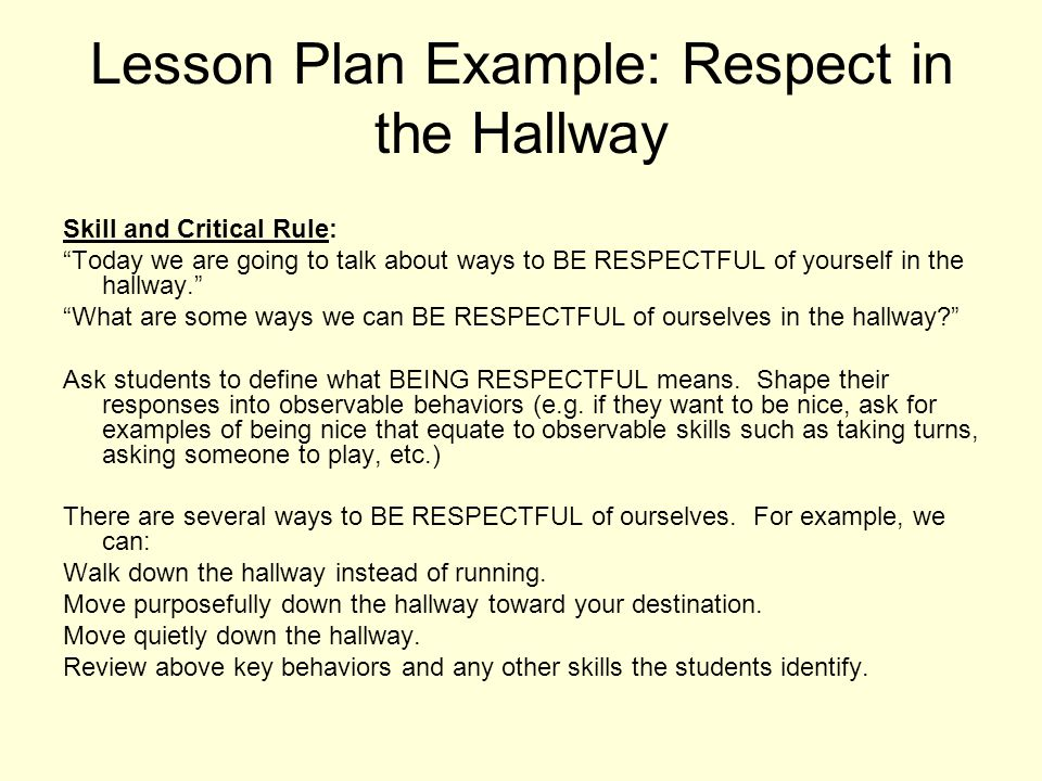 Lesson Plan Example: Respect in the Hallway