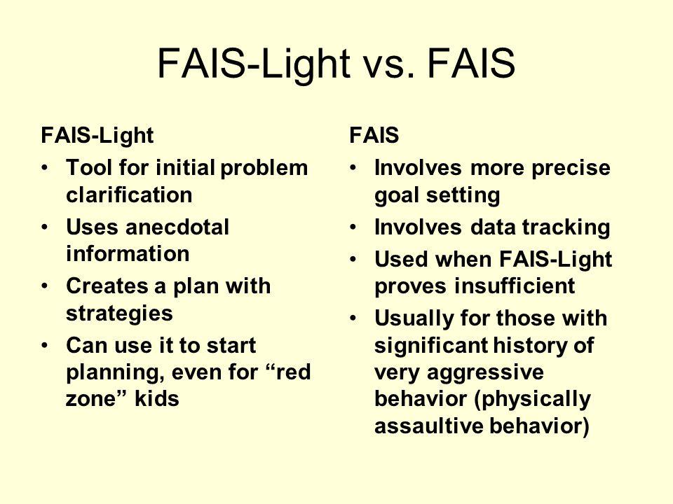 FAIS-Light vs. FAIS FAIS-Light Tool for initial problem clarification
