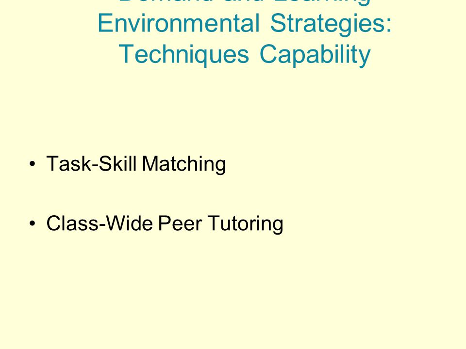 for Matching Instructional Demand and Learning Environmental Strategies: Techniques Capability