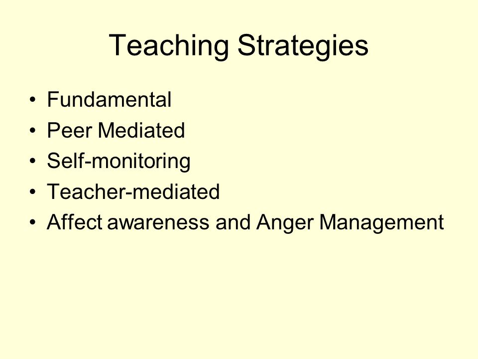 Teaching Strategies Fundamental Peer Mediated Self-monitoring