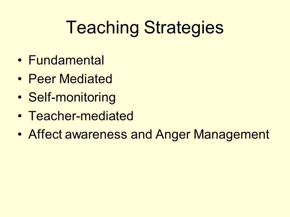 Teaching Strategies Fundamental Peer Mediated Self-monitoring