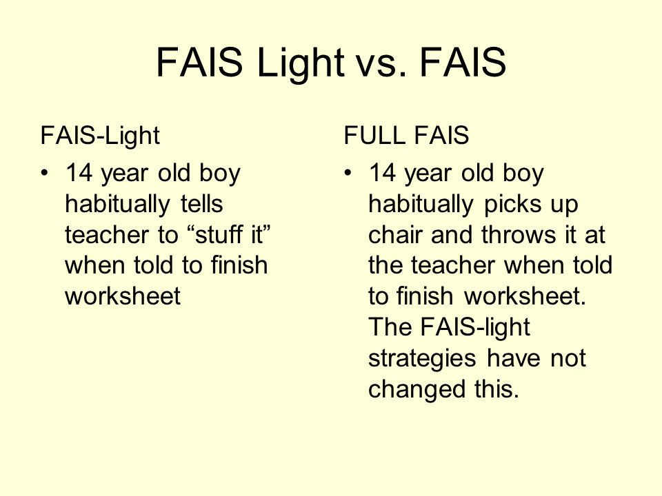 FAIS Light vs. FAIS FAIS-Light