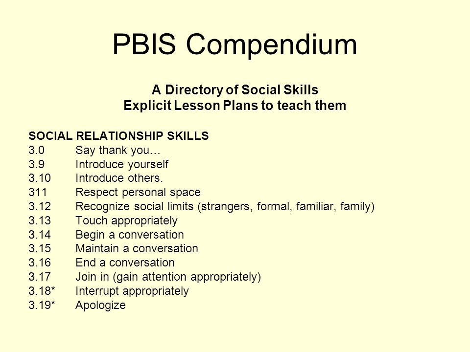 A Directory of Social Skills Explicit Lesson Plans to teach them