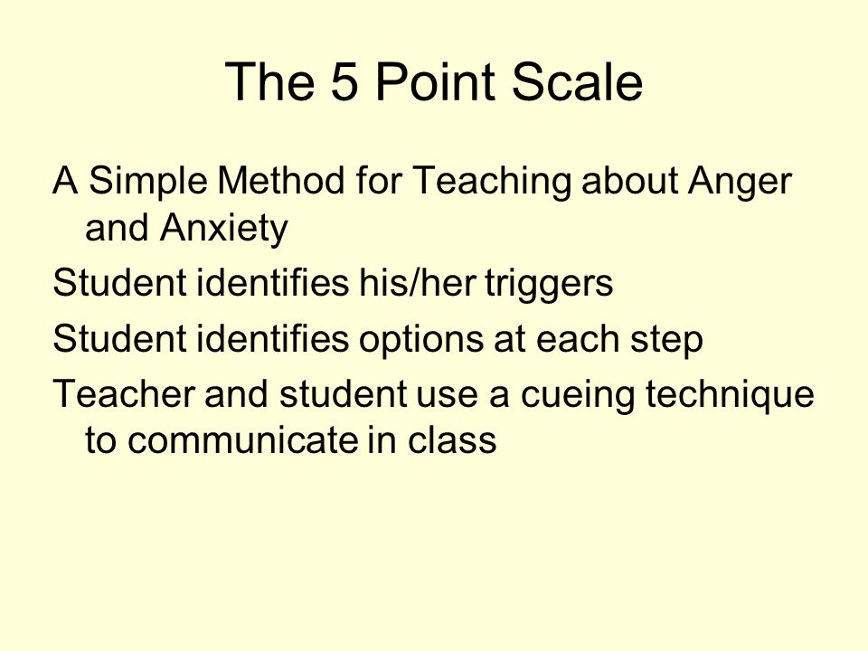 The 5 Point Scale A Simple Method for Teaching about Anger and Anxiety