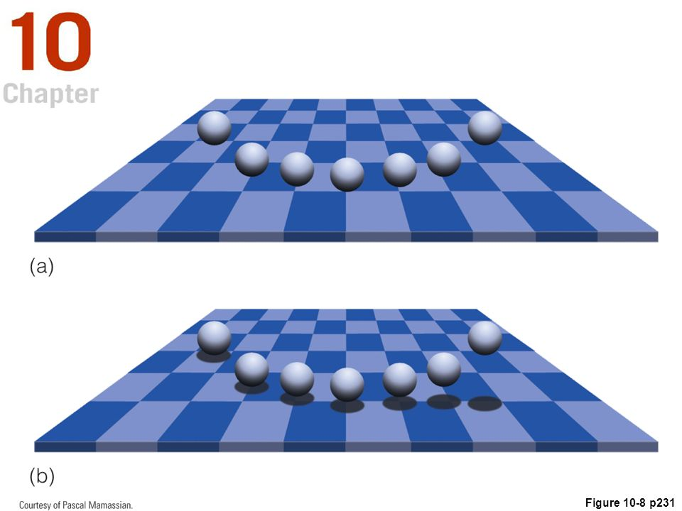 Figure 10.8 (a) Where are the spheres located in relation to the checkerboard (b) Adding shadows makes their location clearer.