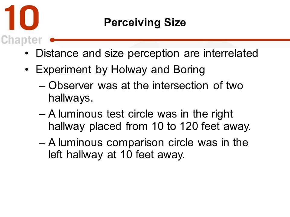 Distance and size perception are interrelated
