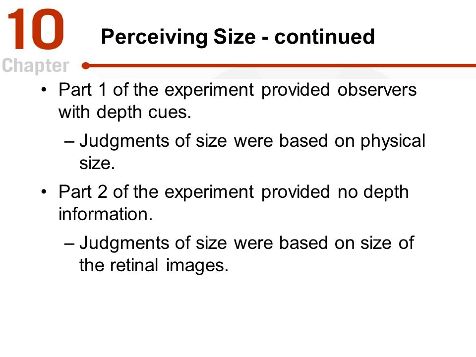 Perceiving Size - continued