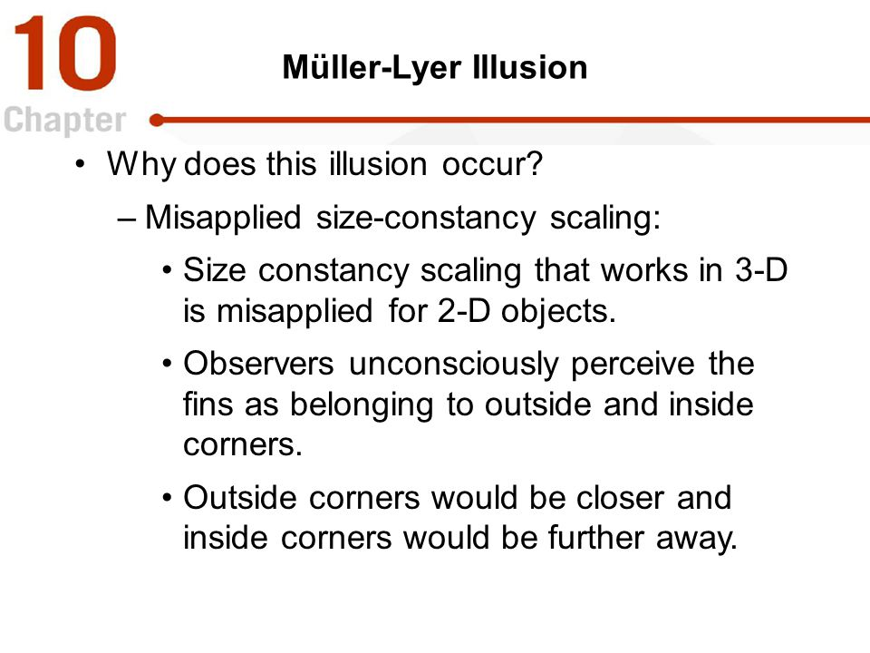Why does this illusion occur Misapplied size-constancy scaling: