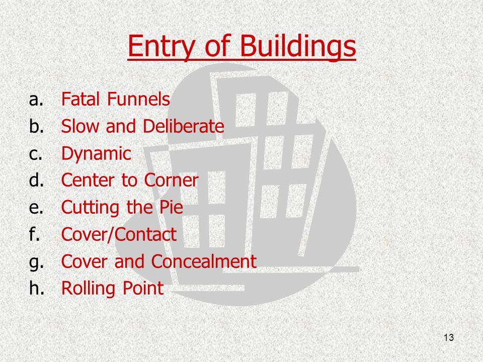 Entry of Buildings Fatal Funnels Slow and Deliberate Dynamic