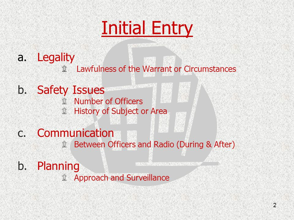 Initial Entry Legality Safety Issues Communication Planning