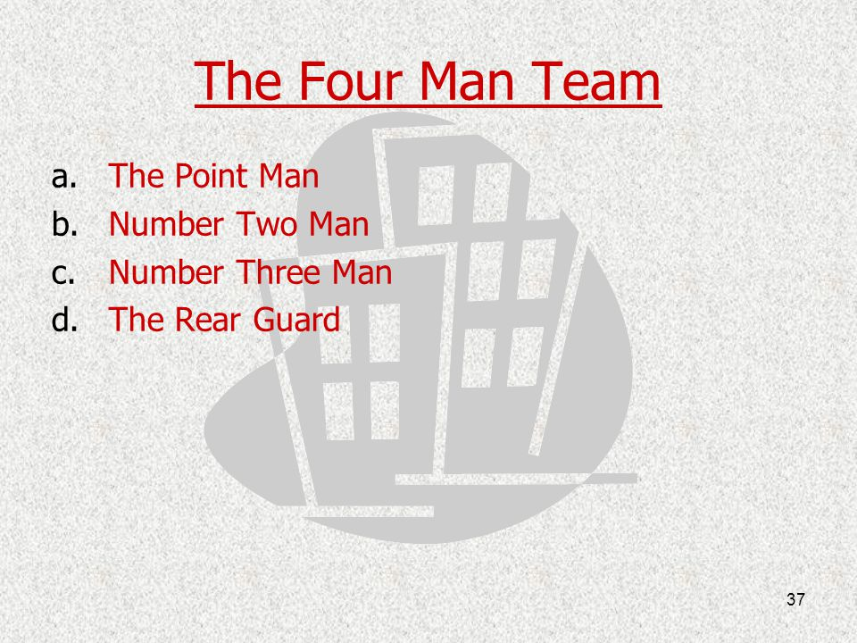 The Four Man Team The Point Man Number Two Man Number Three Man