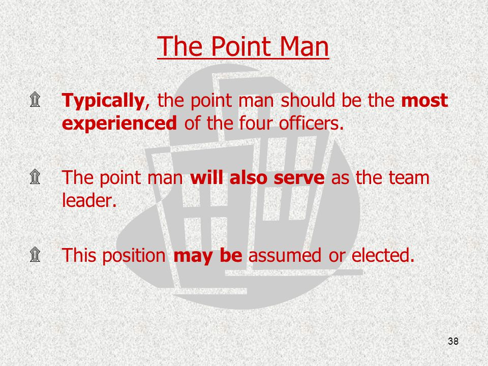 The Point Man Typically, the point man should be the most experienced of the four officers. The point man will also serve as the team leader.