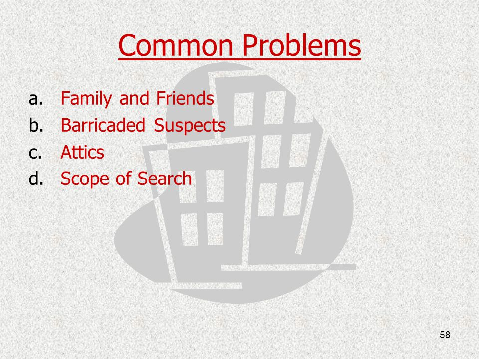 Common Problems Family and Friends Barricaded Suspects Attics