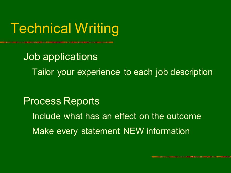 Technical Writing Job applications