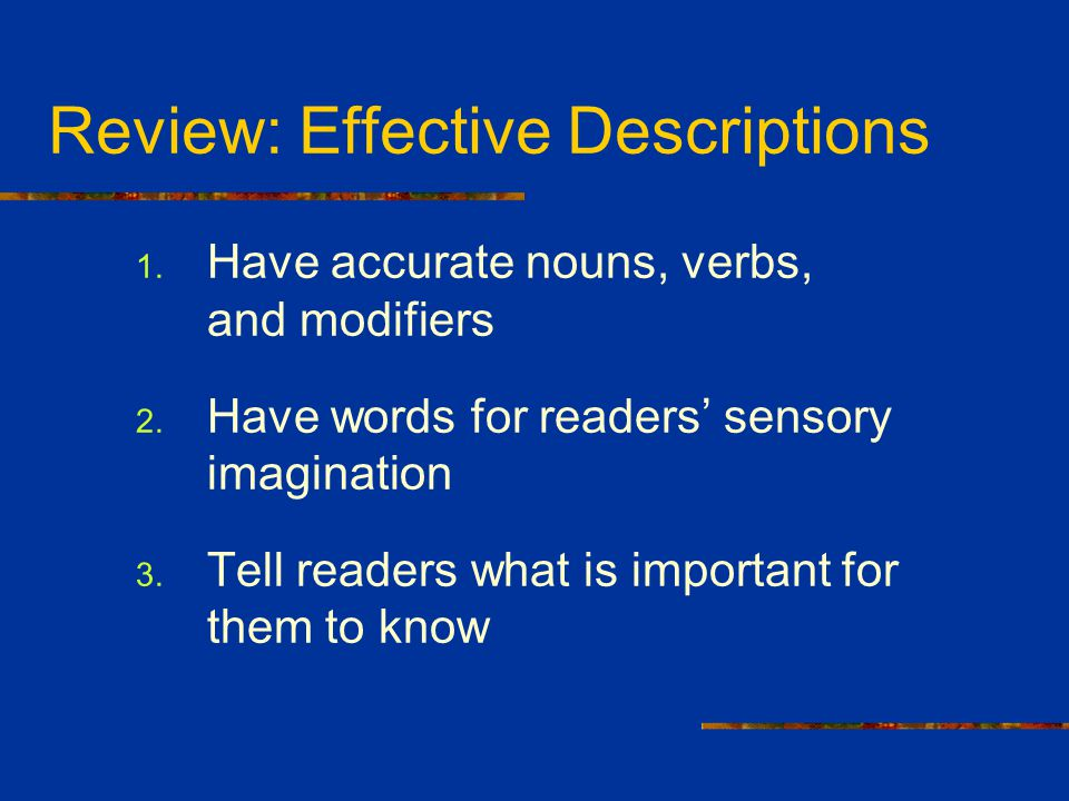 Review: Effective Descriptions