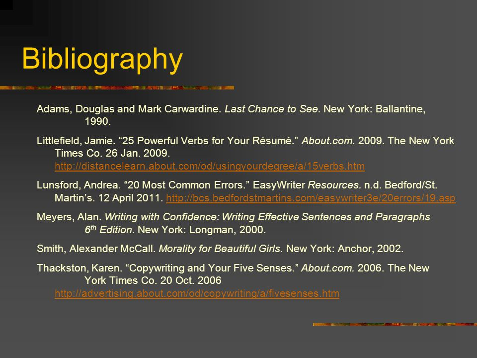 Bibliography Adams, Douglas and Mark Carwardine. Last Chance to See. New York: Ballantine, 1990.