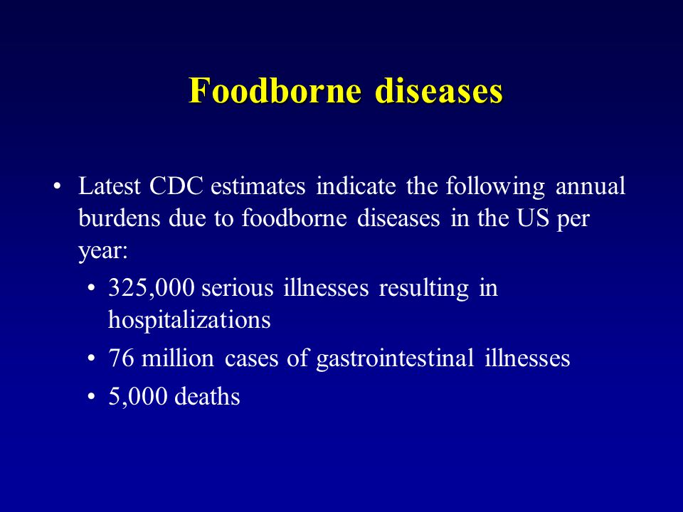 Foodborne diseases Latest CDC estimates indicate the following annual burdens due to foodborne diseases in the US per year: