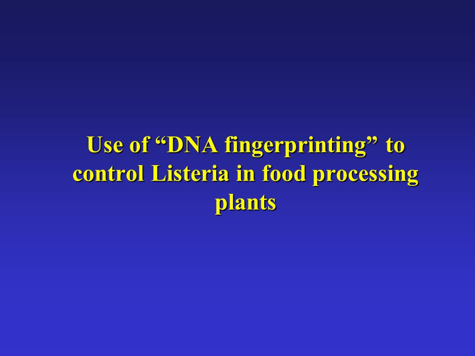 Use of DNA fingerprinting to control Listeria in food processing plants