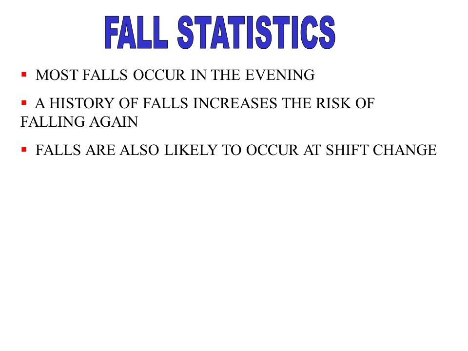 FALL STATISTICS MOST FALLS OCCUR IN THE EVENING