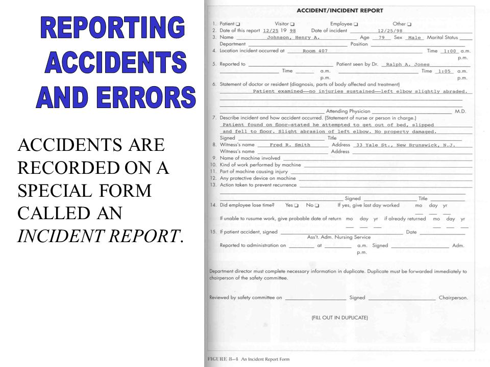 REPORTING ACCIDENTS AND ERRORS