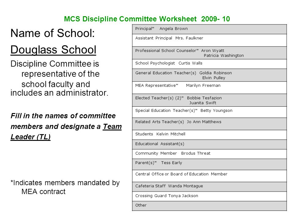 MCS Discipline Committee Worksheet 2009- 10