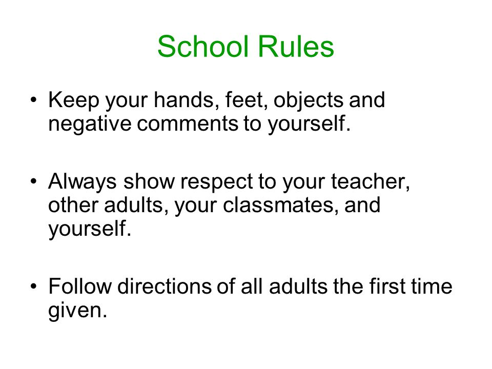 School Rules Keep your hands, feet, objects and negative comments to yourself.