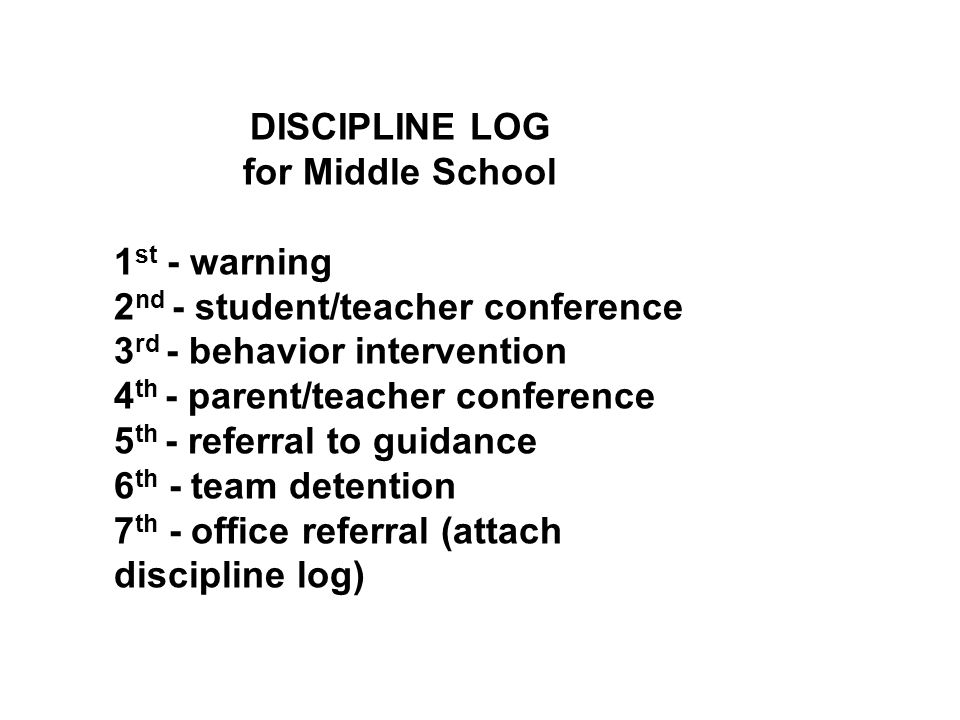 DISCIPLINE LOG for Middle School. 1st - warning. 2nd - student/teacher conference. 3rd - behavior intervention.