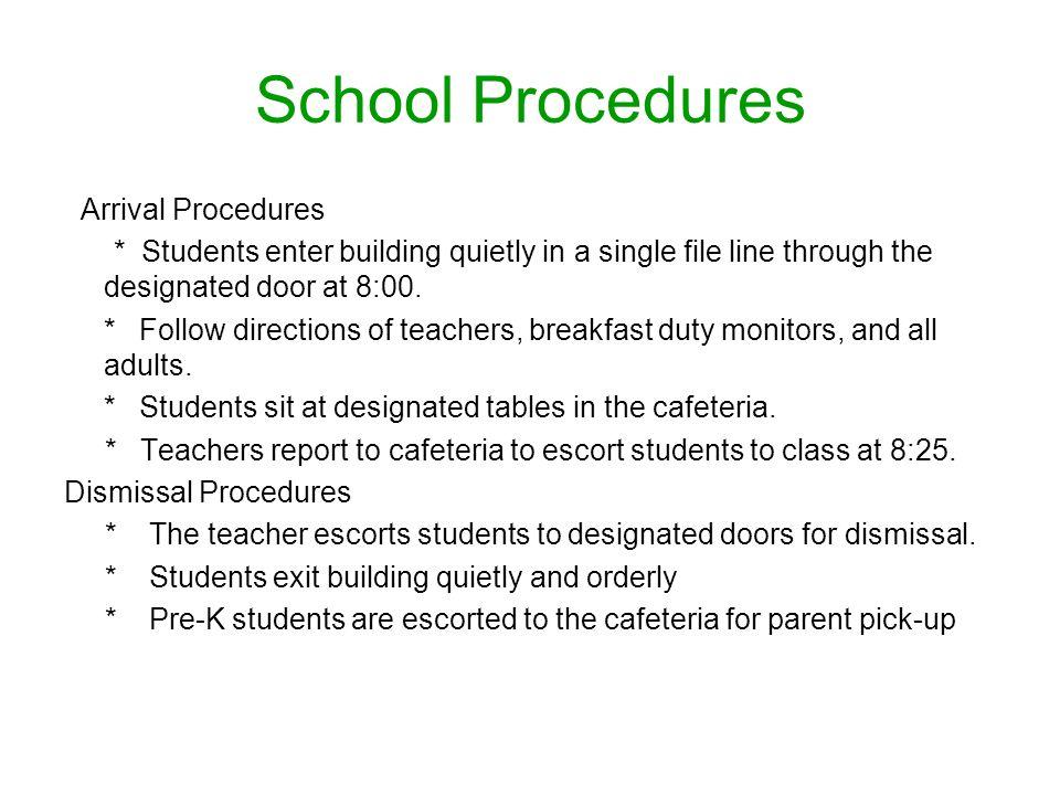 School Procedures Arrival Procedures