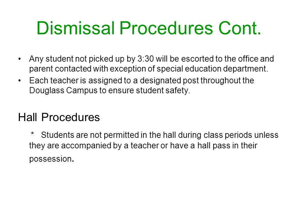 Dismissal Procedures Cont.