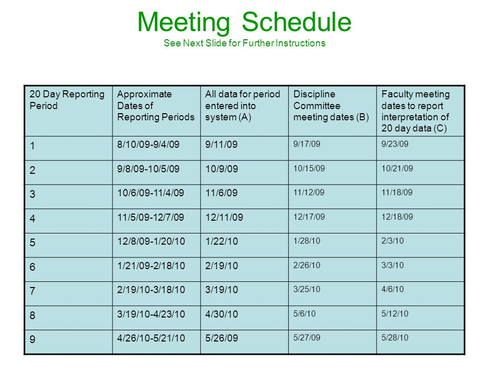 Meeting Schedule See Next Slide for Further Instructions