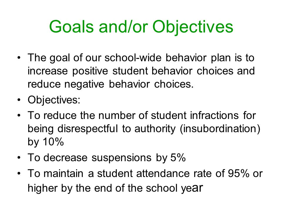 Goals and/or Objectives