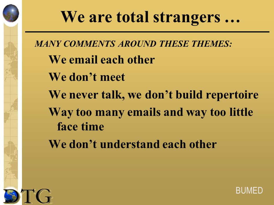 We are total strangers …