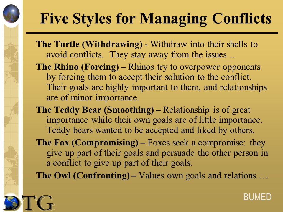 Five Styles for Managing Conflicts